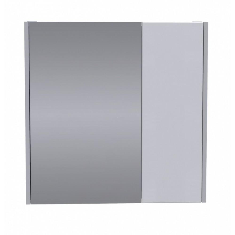 Шкаф зеркальный Line AVN 70Белый глянец + Светло-серый